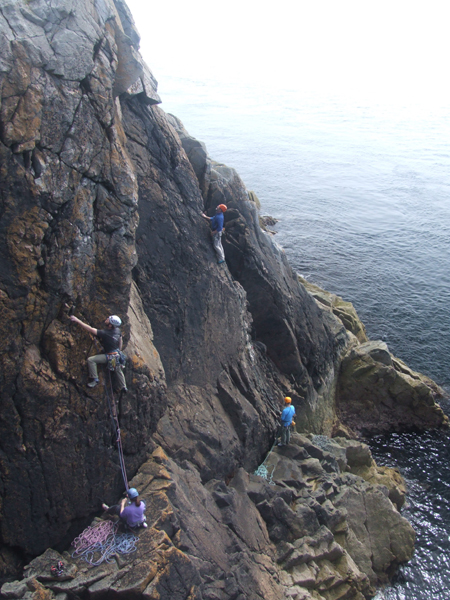 A busy Sunday on the Lighthouse Walls at Crammag Head, the climbers are on Firefly HVS 5a and Marine Boy VS 4c.