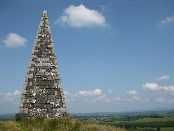 This 10-12m high monument to James Neilson, the inventor of the Hotblast process, makes an unusual ascent. It sits on top of Barstobrick Hill just north of the A75 at Ringford.