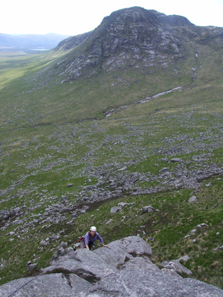 Looking over to Craignaw form the first pitch of Traitors Gait.