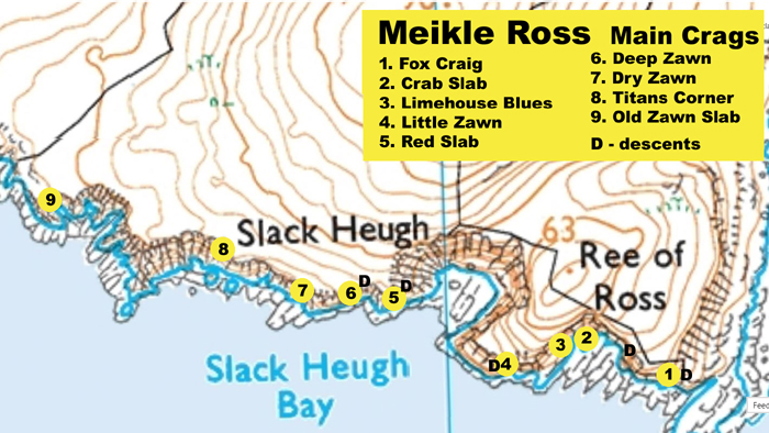 Map of the climbing areas at Meikle Ross.