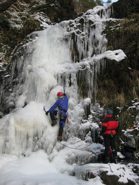 Ice climbing  on the Galloway Grey Mares Tail