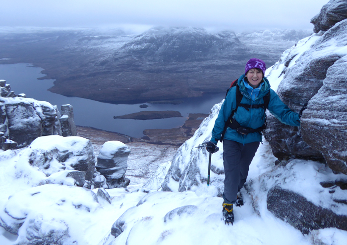 The winter ridge traverse of An Teallach in Scotland.