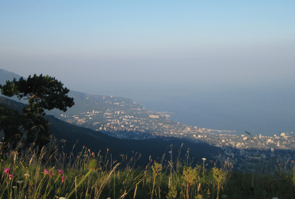 Yalta and the Black Sea from our high campsite on the plateau.