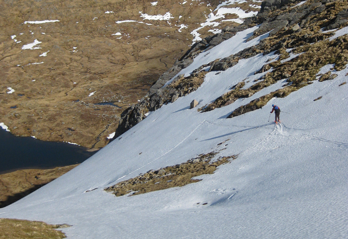 Skiing down Stob Coire Sgriodain, Scottish Highlands, April 2016.