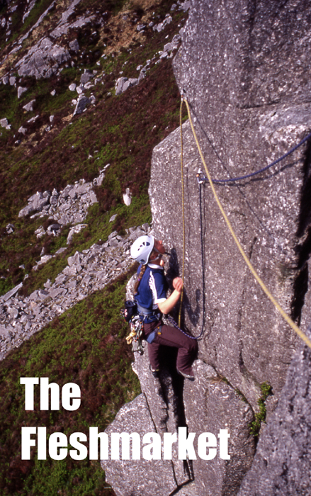 Rock climbing at the Fleshmarket, which lies on Craignelder, an outlier of Cairnsmore of Fleet in the southern Galloway Hills.