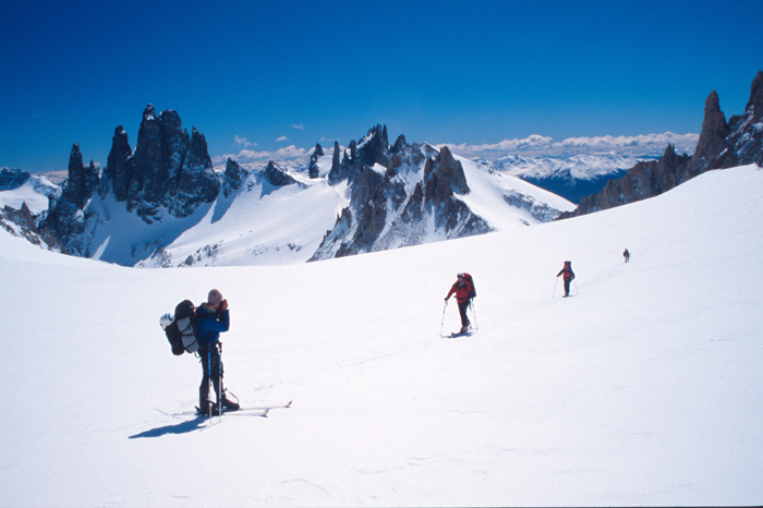 San Lorenzo, the highest peak in this area which lies on the Chile-Argentina border, can make a good ski ascent too.